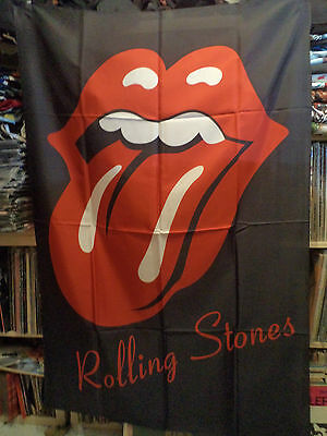 ROLLING STONES  Rare Unused TEXTILE POSTER FLAG  rock beatles pink floyd t shirt