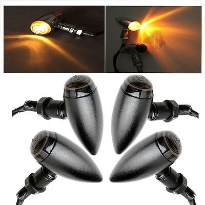 4x Mini Motorcycle Bullet Turn Signal Light Indicator Blinker Lamp Amber Black