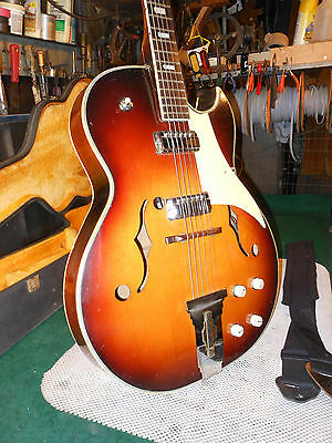 1960's Vintage Kimberly Electric Archtop Guitar Very cool Single Cut Needs work
