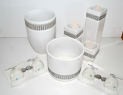 Rhinestone Wrap White Vases, Candle Holders And Candles
