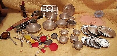 Vintage Miniature Tin Kids Play Dishes, Pots & Pans