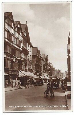 EXETER High Street from Queen Street, RP Postcard by Valentine, Unused