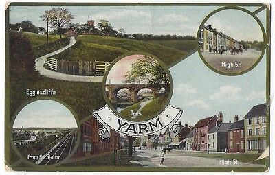 YARM Old Multiview Postcard, Postally Used 1911, Jay em Jay Postcard