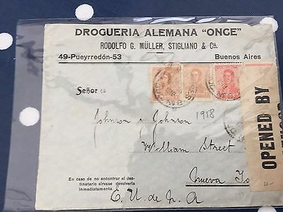 Argentina letter to Johnson & Johnson opened by censor 385 nice item