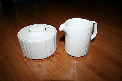 Rosenthal White Ribbed Sugar Bowl With Lid and Creamer