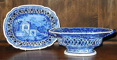 Staffordshire blue transfer ware chestnut basket and stand C1830 India