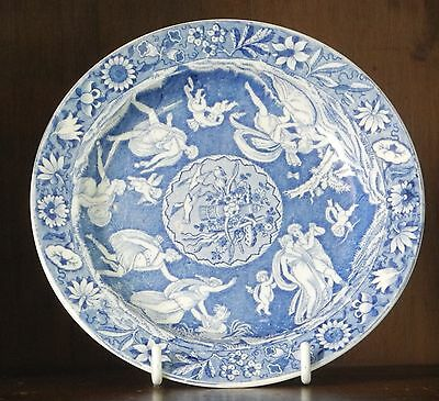 Spode pearlware blue and white transfer printed side plate love chase C1830