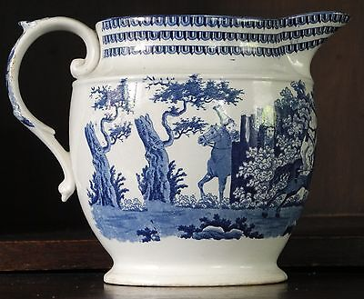 Rare pearlware blue and white transfer printed jug C1815 Napoleonic wars