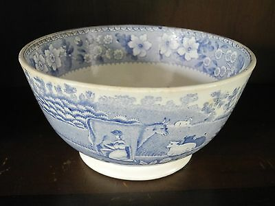 Antique Scottish pottery blue and white transfer printed waste bowl C1840