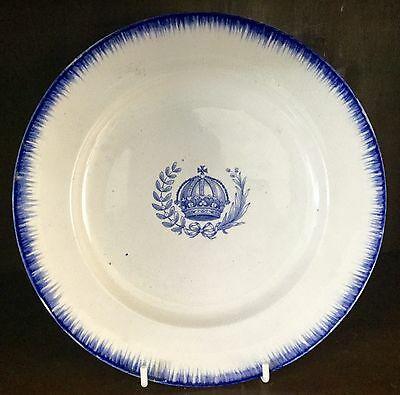 C19th Davenport plate blue transferware feather edge pealware Staffordshire