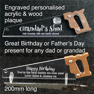 Personalised Hand Saw Plaque Birthday Fathers Day Dad Grandad Daddy Gift Present