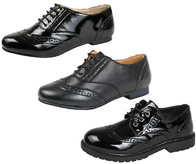 Girls Lace Up Brogues Black School Shoes Patent Womens Formal Work Loafers Size