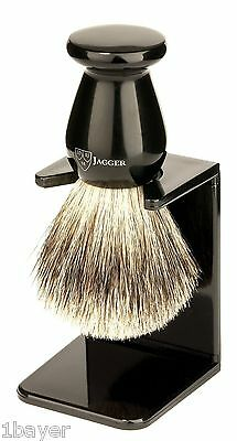Edwin Jagger English Best Badger Hair Shaving Brush Faux Ebony Drip Stand