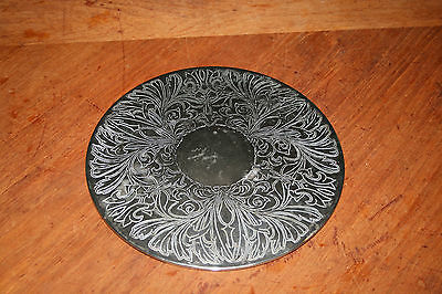 Vintage Silverplate Trivet Engraved Floral Pattern Silverplated Made  Hong Kong