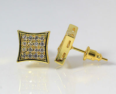 10mm Mens 18k Yellow Gold Finish Real Silver Square Lab Diamond  Studs Earrings