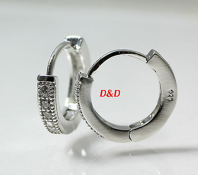 15mm White Gold Finish Real 925 Silver Round  Lab Diamond Hoop Earrings