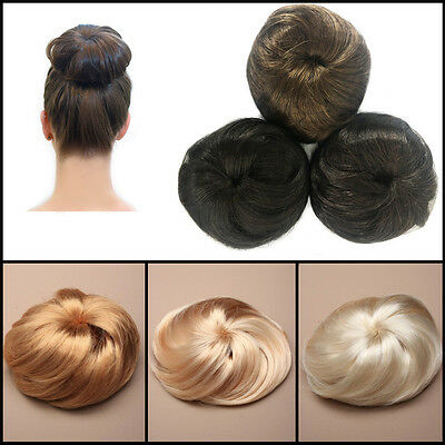 Quality Hair Bun Extension Ladies Hairstyling Celebrity Style Fake Easy Tie Wigs