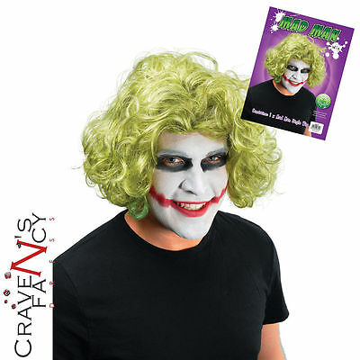 Green Joker Wig Halloween Bat Mad Man Fancy Dress Costume Accessory New