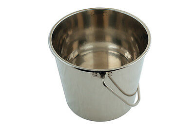 Stainless Steel Bucket 12 Litre - Lids Also Available -More Hygenic Than Plastic