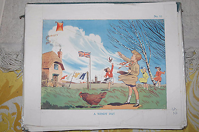 Vintage school poster. A WINDY DAY. No 52. Thatched Cottage Union Jack Kites