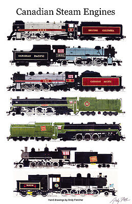 "Canadian Steam Locomotives 11""x17"" Railroad Poster by Andy Fletcher signed"
