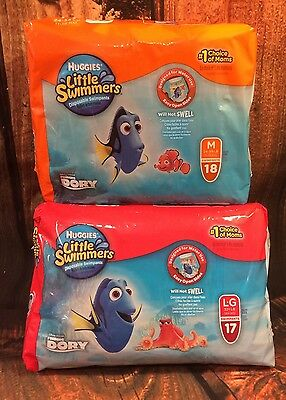 Huggies Little Swimmers Combo Pack of 2 Sizes 35 Total - 18 ct M, 17 ct L