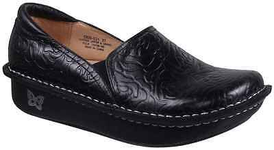 Alegria DEBRA 531 Womens Black Embossed Rose Leather Slip On Comfort Clogs Shoes