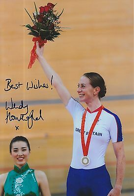 Wendy Houvenaghel Hand Signed Olympics 12x8 Photo.