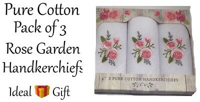 HANDKERCHIEFS Rose Garden Set Of 3 Embroidered Pure Cotton X 2Sets New