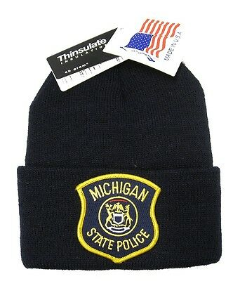 Michigan State Police Patch Knit Cap - 40g Thinsulate Insulation - Navy Blue