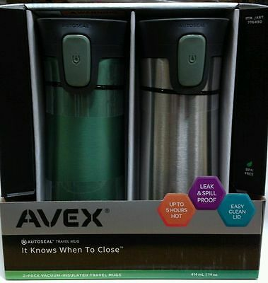 2-Pack AVEX Vacuum Insulated AUTOSEAL Stainless Steel Travel Mugs/Flasks