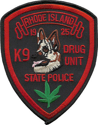"""Rhode Island State Police K9 Drug Unit Shoulder Patch  5"""" tall by 4"""" wide - NEW"""