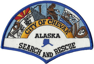 """City of Chevak Search and Rescue Alaska Shoulder Patch - 3 5/8"""" tall by 5"""" wide"""
