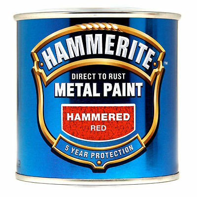 Hammerite  250ml Direct to Rust Hammered Finish Metal Red Paint
