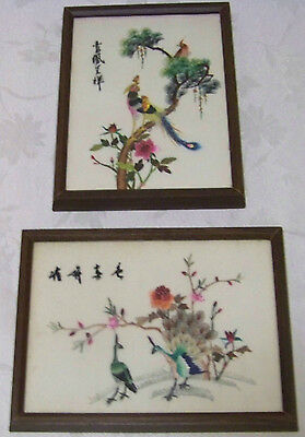 Vintage Pair Japanese Paintings Embroidered Peacocks on Silk