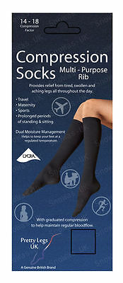 1to12 Pairs of Travel Maternity Sports Fine Rib Compression Socks Black/ Natural