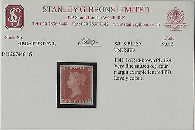 SG8 BS32 1d Red Plate 129 Position PD  very fine & fresh mounted mint condition.