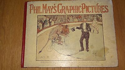Hardback Phil May's Graphic Pictures Victorian Cartoon Book c.1900