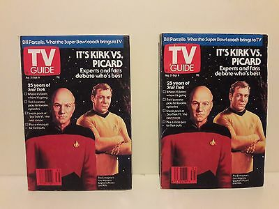 2 Star Trek TV Guides Kirk Vs. Picard 25 Year Anniversary Issue 8/31 -9/6 1991