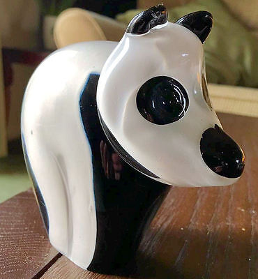 Vintage Collectable Wedgwood Black & White Glass Panda Paperweight - Rare