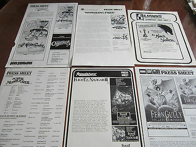 (6) Movie Press Sheets : Chipmunk / Wombling Free / Flignt of the Navigator