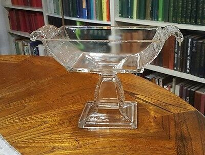 art deco glass square footed sundae or trifle serving dish