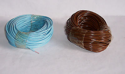 Wire - electric cables x2 - c25m ea brown & blue - model rail usage – see pics