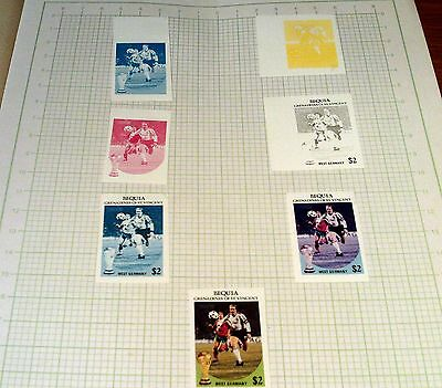 "Bequia, St Vincent $2 Colour Progression ""west Germany Football"" Stamp Proofs."