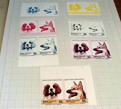 "BEQUIA, ST VINCENT 55c COLOUR PROGRESSION ""DOGS"" STAMP PROOFS, VERY UNUSUAL!!."