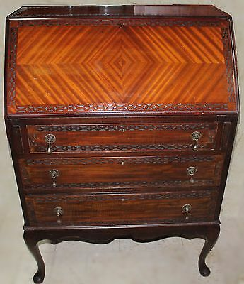 Antique Art Deco Mahogany Drop Front Secretary