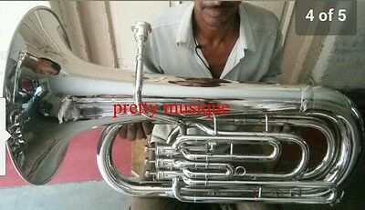 Tuba In Eb Flat Made Of Pure Brass In Silve Polish +Hard Case Box +Free Shipping