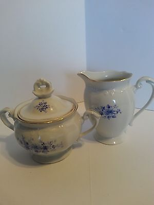 Chodziez Footed Creamer And Sugar Bowl With Lid Blue Floral Made In Poland