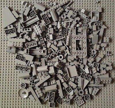 Lego 14 oz Old Light Gray Bricks Small Modified Parts Pieces Accessories Lot