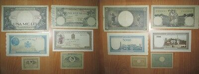A-Romania 6 pcs Royal Banknotes, 2 unc and 4 in good condition.